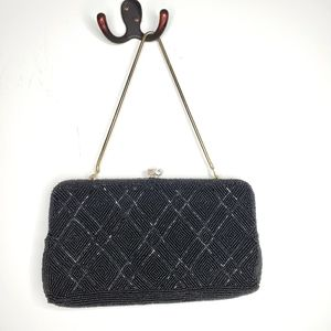 Vintage black beaded purse with chain